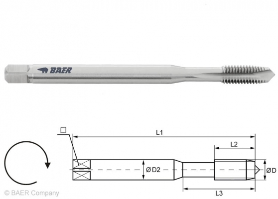 HSSE Maschinengewindebohrer Form B - 100 mm - M 8 x 1.25