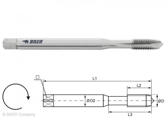 HSSE Maschinengewindebohrer Form B - 150 mm - M 4 x 0.7