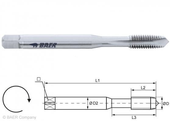 HSSE Maschinengewindebohrer Form B - 7G - M 5 x 0.8 - DIN 371